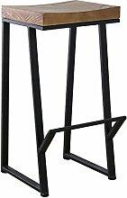 JUNDENGZI Schmiedeeisen-hoher Schemel-Barhocker, Der Stuhl-feste Holz-Sitzplatz-einfaches Modernes Speist (Farbe : B-H80cm-3Tcm)