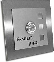 Jung-Edelstahl-Design Türklingel mit Gravur.