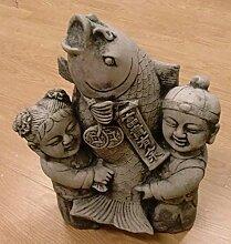 Junge, Mädchen Chinesische Kinder mit KOI, FIGUR BUDDHA Steinfigur Teich Skulptur Deko Garten zu Weihnachten verschenken