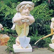 Junge mit Spaten Garten Statue (handbemalt) aus Betonwerkstein Gartenfigur Steinfiguren Garten-Statue Dekofigur