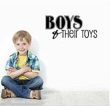 Jungen & Ihr Spielzeug Wand Schriftzug Aufkleber