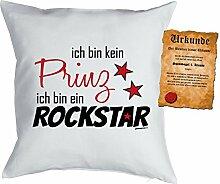 Jungen/Kinder/Deko-Kissen inkl. Spaß-Urkunde Thema lustige Sprüche: ich bin kein Prinz ich bin ein Rockstar - Geschenkidee