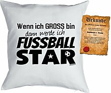 Jungen/Kinder/Deko-Kissen inkl. Spaß-Urkunde Thema Traumberufe: Wenn ich gross bin dann werde ich Fussball Star - Geschenkidee