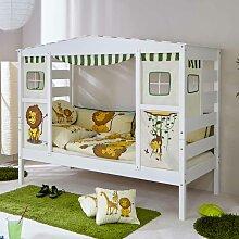 Jungen Kinderbett in Weiß Kiefer massiv Dschungel