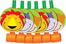 Jungen Mädchen Kinder Kinder Geburtstag Party Dschungel Zoo Beute Geschenk Tasche Tröten, Teller, Schale Banner Lebensmittel Boxen Servietten Tassen 6 Blowou