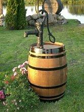 JUNIT 225L Weinfass Regentonne aufgearbeitet mit Schwengelpumpe Eichen