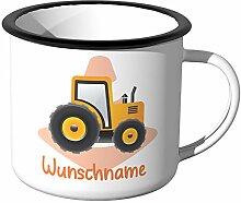 JUNIWORDS Emaille-Tasse mit Wunschname, Traktor,