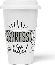 JUNIWORDS To-Go Becher mit Deckel, Espresso bitte!