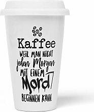 JUNIWORDS To-Go Becher mit Deckel, Kaffee weil man