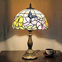 JUNJUNA Tiffany-Lampe, Buntglastischlampe,