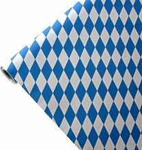 JUNOPAX 50m*0,75m Papiertischdecke Raute weiß-blau