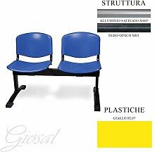Jupiter 2Sitzer Büro Studio Warteraum Metall Stuhl Kunststoff giosal gelb