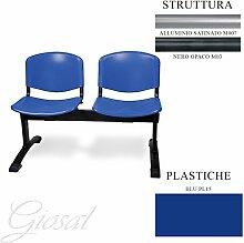 Jupiter 2Sitzer Büro Studio Warteraum Metall Stuhl Kunststoff giosal blau