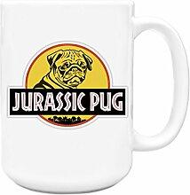 Jurassic Mops Hund Geschenkidee Dinosaurier Film Fan Funny 444ml groß Tee Kaffee Tasse...
