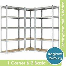 Juskys 3er Metall Regalsystem | 1 Eckregal & 2