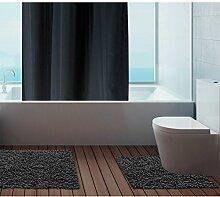 Just Contempo Badematte, 100 % Baumwolle, 50x80cm / 50x50cm., Bath Mat Set - Black ( cotton washable small rug ), Stück: 1