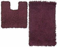Just Contempo Badematte, 100 % Baumwolle, 50x80cm / 50x50cm., Bath Mat Set - Purple ( aubergine ), Stück: 1