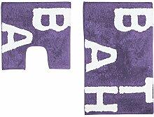 Just Contempo Badematte und WC-Vorleger, Set, Baumwolle, Violett, 2-teilig