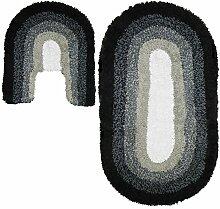 Just Contempo Farbverlauf Oval Badematte und WC-Vorleger, Set, schwarz