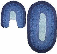 Just Contempo Farbverlauf Oval Badematte und WC-Vorleger, Set, blau