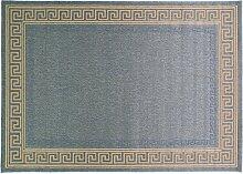 Just Contempo Flachgewebe eingefasst Teppich, beige, 120x 170cm _ P, Polypropylen, blau, 120 x 170 cm