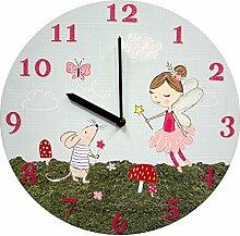 Just Contempo Kinder Einhorn Wanduhr–Pink, holz, fee, 3 x 34 x 34 cm