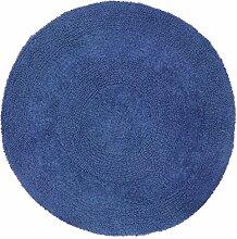 Just Contempo rund Baumwolle Badvorleger violett, baumwolle, marineblau, 60 cm