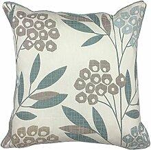 Just Contempo Spring Floral Kissenbezug, baumwolle, blaugrün, Cushion 17x17 inches