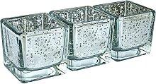 justbelight Teelichthalter 3er-Set Glas (Silber)