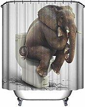 Justdolife Home Duschvorhang Modische 3D Elefant