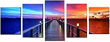 JUSTFOX - Wanduhr 5 tlg. XXL Leinwandbild für Wohnzimmer Motiv Sonnenuntergang Steg