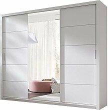 JUSThome 250 Kleiderschrank Garderobenschrank Schwebetürenschrank 250x215x62 cm Weiß