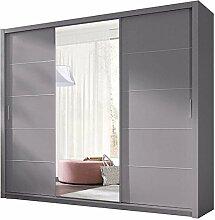JUSThome 250 Kleiderschrank Garderobenschrank Schwebetürenschrank 250x215x62 cm Grau