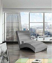 JUSThome CHICAGO Liege Relaxliege Loungesessel Kunstleder (BxLxH): 75x175x85 Grau