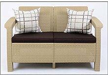 JUSThome Corfu Sofa Couch Gartenbank Rattan 2-Sitzer Sofa Beige Braun