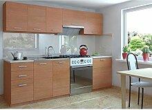 JUSThome Economy Küchenzeile Küchenblock Küche 240 cm Länge Farbe: Erle