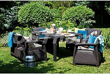 JUSThome Fiesta Essgruppe Gartenmöbel Gartengarnitur Set 2x Sessel + 2x Sofa + Tisch in Rattan-Optik Braun Taupe