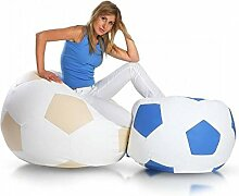 JUSThome Fußball Large Sitzsack Sessel Riesensitzsack Kunstleder Farbe: Blau