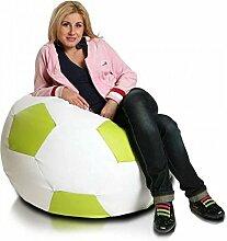 JUSThome Fußball XXXL Sitzsack Sessel Riesensitzsack Kunstleder Farbe: Limone