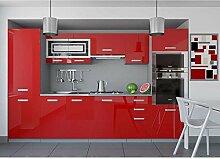 JUSThome Infinity Küchenzeile Küchenblock Küche 300 cm Farbe: Rot Hochglanz