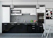 JUSThome Infinity Küchenzeile Küchenblock Küche 300 cm Farbe: Schwarz / Weiß Hochglanz
