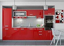 JUSThome Infinity LED Küchenzeile Küchenblock Küche 300 cm Farbe: Rot Hochglanz