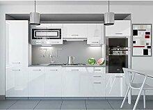 JUSThome Infinity LED Küchenzeile Küchenblock Küche 300 cm Farbe: Weiß Hochglanz