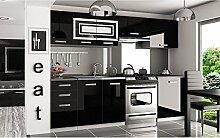 JUSThome Infinity Pro Küchenzeile Küchenblock Küche 240 cm Farbe: Schwarz Hochglanz
