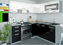 JUSThome Lidja L-Küche Küchenzeile Küchenblock 190x170 cm Farbe: Schwarz / Weiß Hochglanz