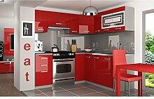 JUSThome Lidja L Pro L-Küche Küchenzeile Küchenblock 190x170 cm Farbe: Rot Hochglanz