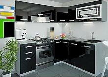 JUSThome Lidja LED L-Küche Küchenzeile Küchenblock 190x170 cm Farbe: Schwarz Hochglanz