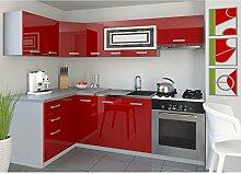 JUSThome Lidja P L-Küche Küchenzeile Küchenblock 130x230 cm Farbe: Rot Hochglanz