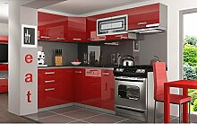 JUSThome Lidja P Pro L-Küche Küchenzeile Küchenblock 130x230 cm Farbe: Rot Hochglanz