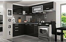 JUSThome Lidja P Pro L-Küche Küchenzeile Küchenblock 130x230 cm Farbe: Schwarz Hochglanz